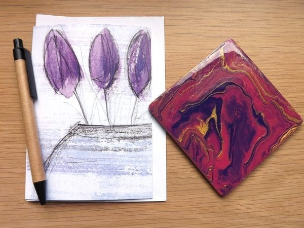 Purple Tulips / with coaster