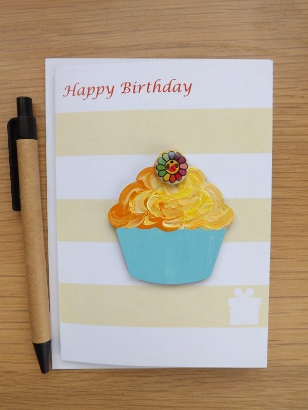 Thinking of you Cupcake - card with gift magnet