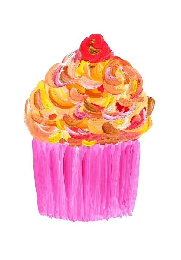 Pink Cup Cake Print